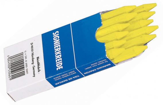 Boite de 12 craies industrielles jaune 120 x ø 12 mm