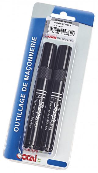 Crayon feutre pointe conique x 2 ø 3mm noir