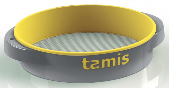 Tamis ABS poignées confort jaune gros ø 48 H. 10,5 cm maille 8
